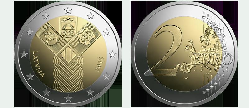 Latvija, 2 eiro Baltijas valstīm 100