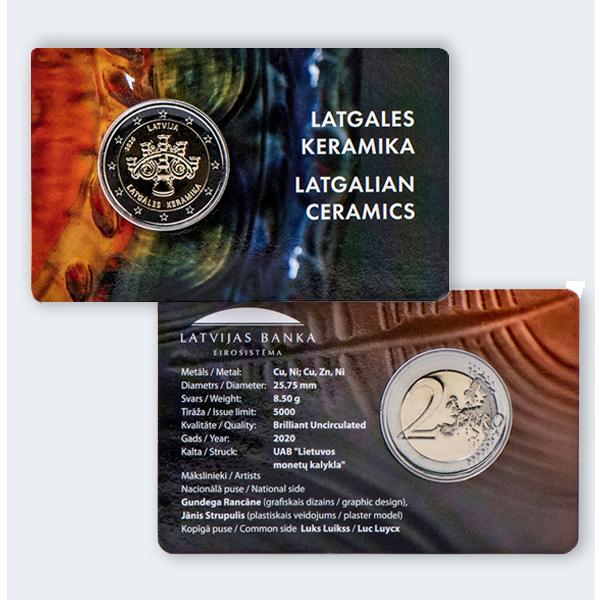 """2 eiro piemiņas monēta """"Latgales keramika"""" suvenīriesaiņojumā"""